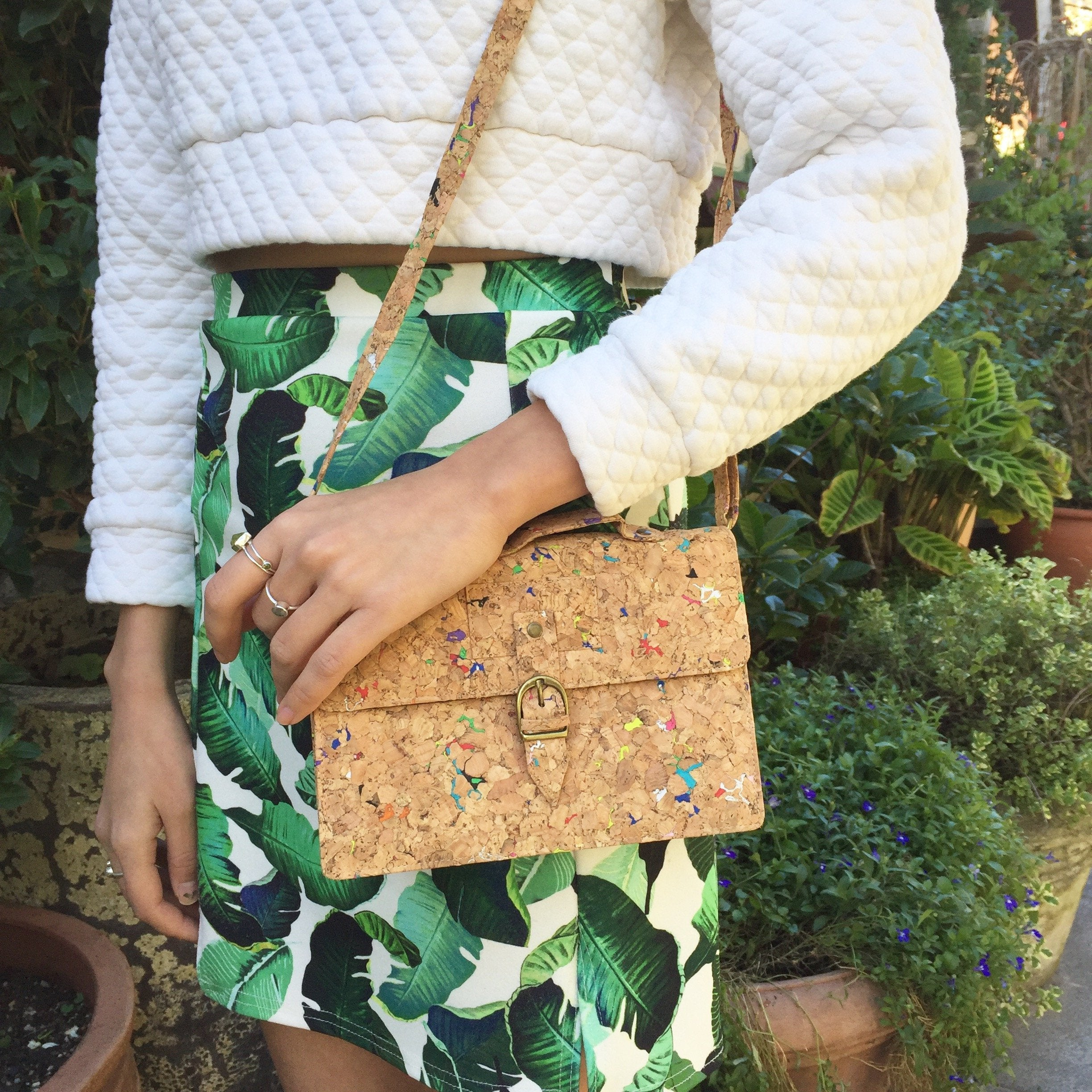 Plain Classic Kiki Cork Crossbody Clutch Bag Natural Cruelty Free Ethical Vegan Recycled