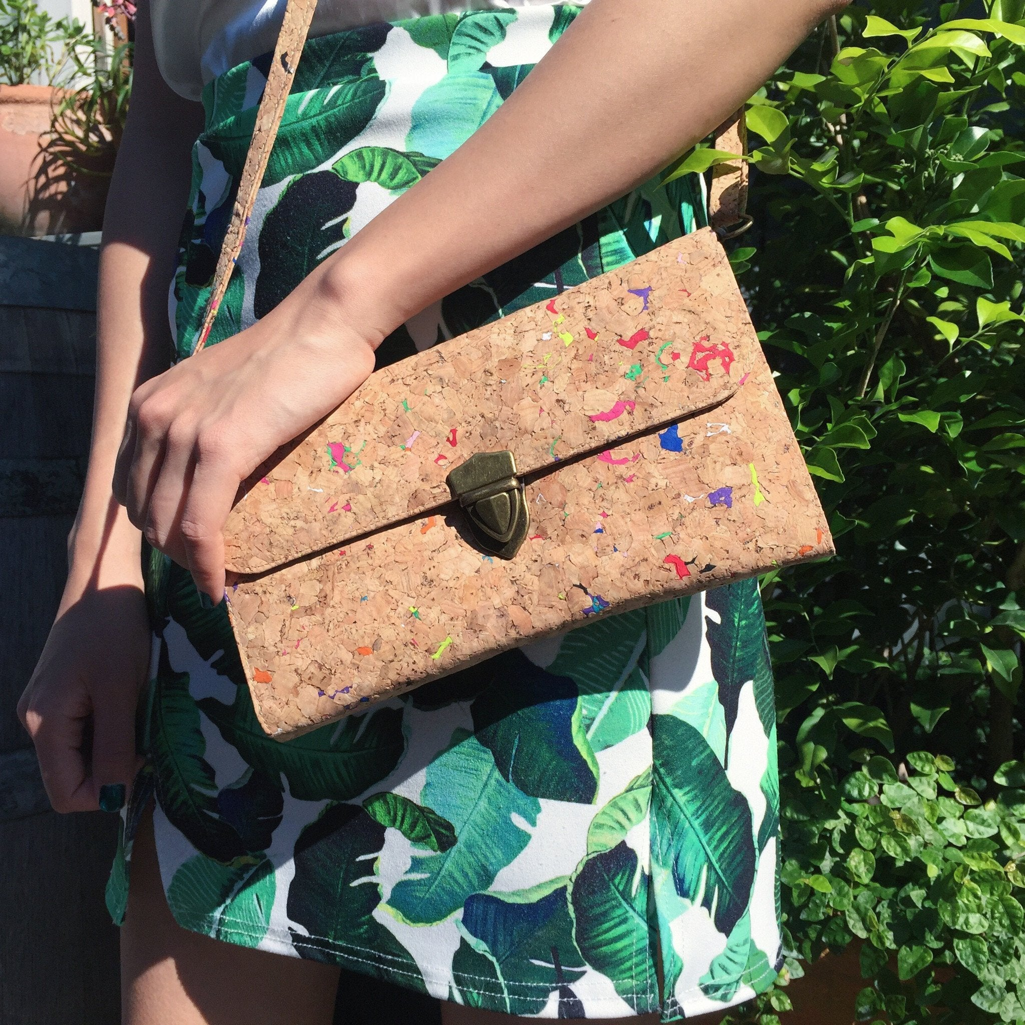 Colourful Vivid Susie Cork Crossbody Clutch Purse Cruelty Free Ethical Vegan Recycled