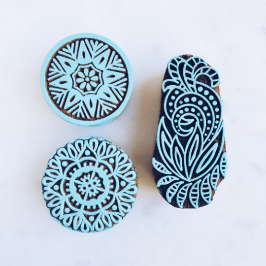 Wooden Block Stamps - Blue