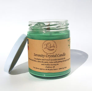 Serenity Crystal Candle by 2 Chicks with Scents with Eucalyptus and Lavender