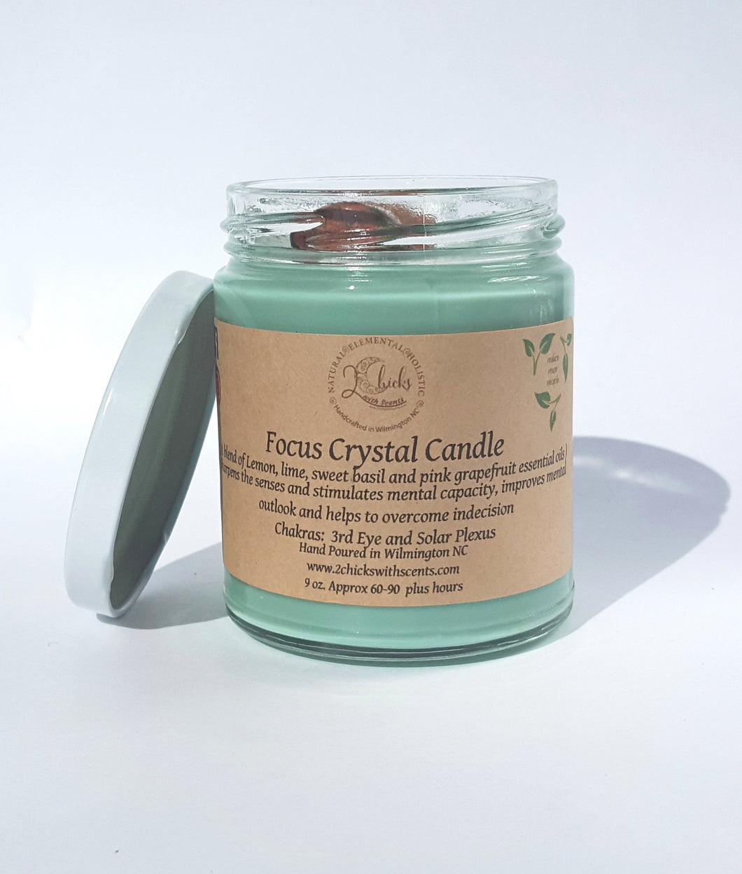 2 Chicks with Scents Focus Crystal Candle with sweet basil, lime, grapefruit, sweet orange