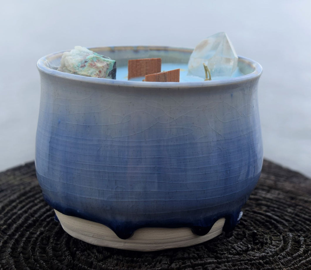 Custom Pottery Crystal Candle