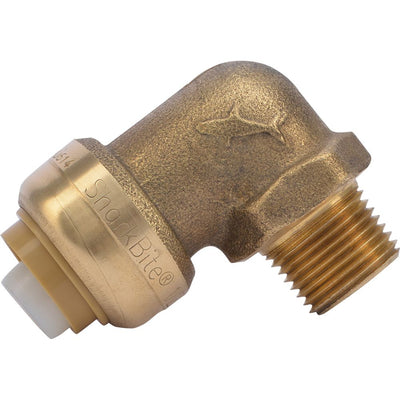 "SharkBite® U281LF Lead-Free Brass Push-to-Connect Dishwasher Elbow - 1/2"" x 3/8"" MPT"