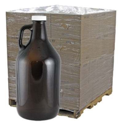 Amber 64oz Glass Beer Growler or Water Bottle With Cap
