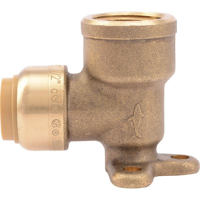 "SharkBite® U334LF Lead-Free Brass Push-to-Connect Drop-Ear Elbow - 1/2"" x 1/2"" FPT"