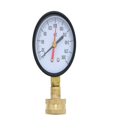 Water Pressure Gauge with Hose Connection 0-300 PSI with Red Max Indicator