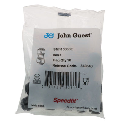John Guest SM410808E Superseal Union - 5/16 Superseal x 5/16 - Black