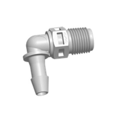 FitQuik PVDF (Kynar) Thread to Tube Elbow Fitting - 1/8 NPT to 3/16 ID Barb