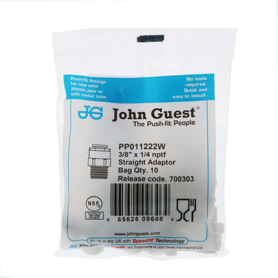 John Guest Male Connector NPTF Polypro - 3/8 x 1/4 NPTF