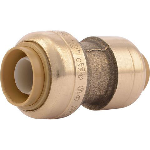 "SharkBite® U009LF Lead-Free Brass Push-to-Connect Reducer Coupling - 3/8"" x 1/2"""