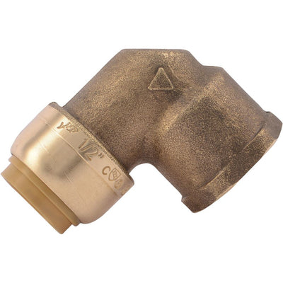 "SharkBite® U308LF Lead-Free Brass Push-to-Connect Female Elbow - 1/2"" x 1/2"" FPT"