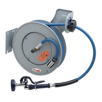 T&S Brass B-7232-01 Open Epoxy Coated Steel Hose Reel with Spray Valve, 3/8 ID x 35ft HD Hose