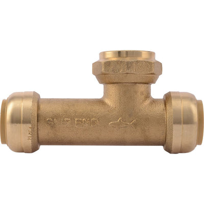 "SharkBite® U3486LF Lead-Free Brass Push-to-Connect Female Centre SLIP Tee - 3/4"" x 3/4"" x 3/4"" FPT"