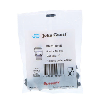 John Guest Male Connector BLACK ACETAL - 8mm x 1/8 BSPP
