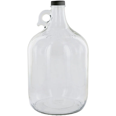 Clear 1 Gallon Glass Beer Growler or Water Bottle With Cap - 4-Pack
