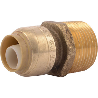 "SharkBite® U116LF Lead-Free Brass Push-to-Connect Male Adapter - 1/2"" x 3/4"" MPT"