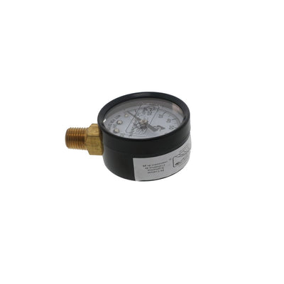 "Water Pressure Gauge 100 PSI, 1/4"" MPT, 2.0"" Glass Dial, Lead Free Brass, Lower Mount, Black Steel Case"