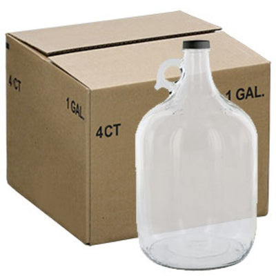 Clear 1 Gallon Glass Beer Growler or Water Bottle With Cap