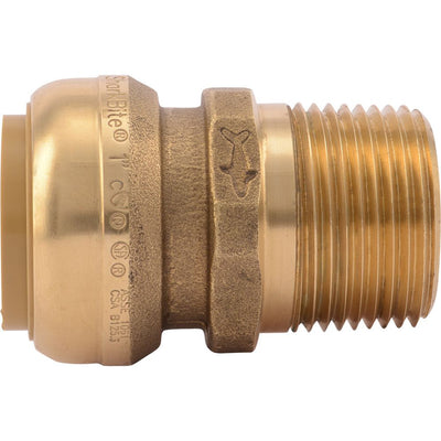 "SharkBite® U140LF Lead-Free Brass Push-to-Connect Male Adapter - 1"" x 1"" MPT"