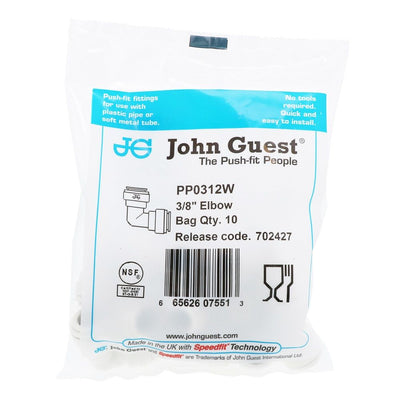 John Guest Union Elbow Polypro - 3/8