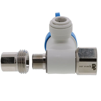 John Guest Conversion Thread Angle Stop Adapter Valve Lead-Free - 1/2 x 3/8 x 3/8