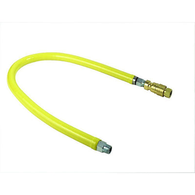 "T&S Brass HG-4D-24 Safe-T-Link Gas Hose, Quick Disconnect to FreeSpin, 3/4  NPT x 24""L"