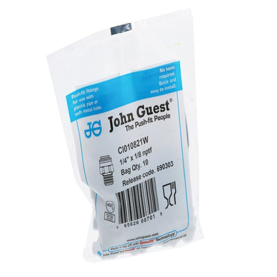 John Guest Male Connector NPTF - 1/4 x 1/8 NPTF - White