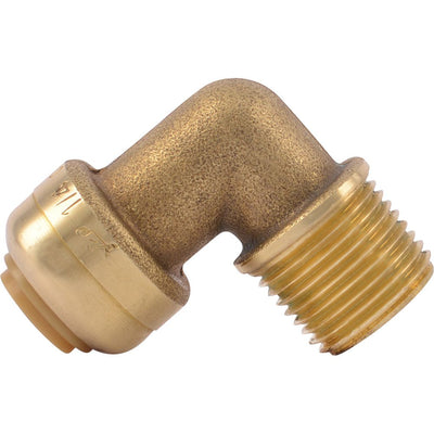"SharkBite® U276LF Lead-Free Brass Push-to-Connect Dishwasher Elbow - 1/4"" x 3/8"" MPT"
