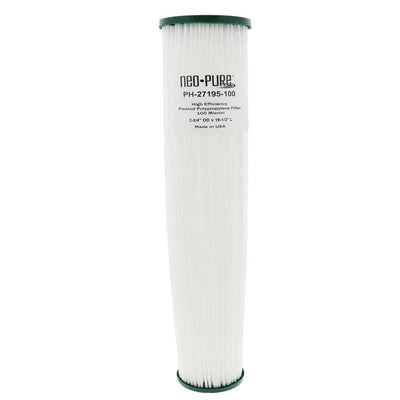 "Neo-Pure PH-27195-100 19-1/2"" High Efficiency Pleated Filter 100 micron"
