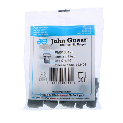 John Guest Male Connector BLACK ACETAL - 8mm x 1/4 BSPP