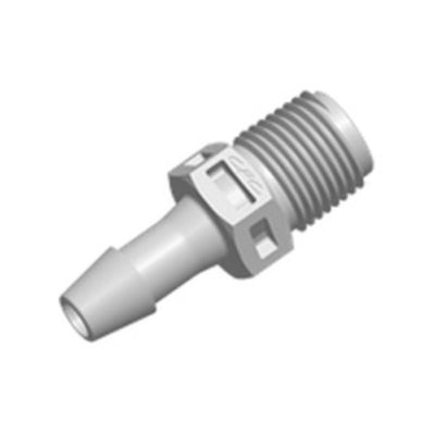 FitQuik PVDF (Kynar) Thread to Tube Straight Fitting - 1/8 NPT to 3/16 ID Barb