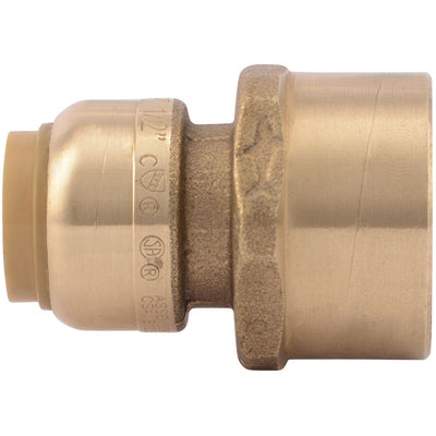 "SharkBite® U068LF Lead-Free Brass Push-to-Connect Female Adapter - 1/2"" x 3/4"" FPT"
