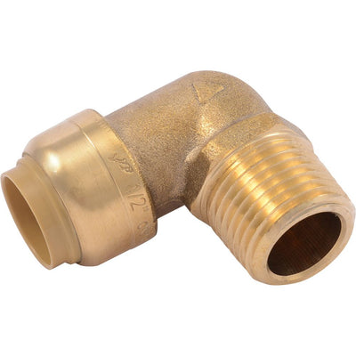 "SharkBite® U280LF Lead-Free Brass Push-to-Connect Male Elbow - 1/2"" x 1/2"" MPT"