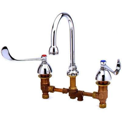 T&S Brass B-0866-PV Deck Mount Medical Faucet with Concealed Body, Swivel Gooseneck, Pedal Valve Connection