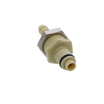 PLCD4200412 Valved Panel Mount Hose Barb Coupling Insert 1/4 ID Barb