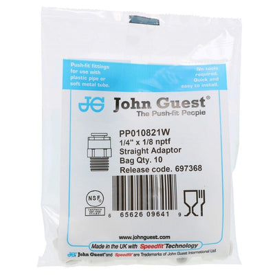 John Guest Male Connector NPTF Polypro - 1/4 x 1/8 NPTF