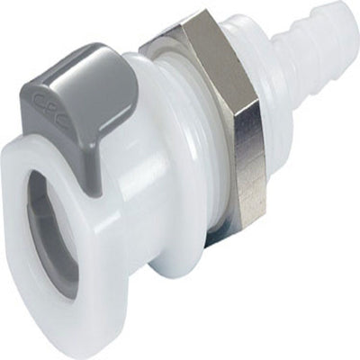 9207900 NSF Non-Valved Panel Mount Hose Barb Coupling Body 1/4 ID Barb - Bag of 50