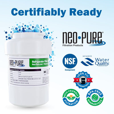 GE MWF Refrigerator Filter SmartWater Compatible Filter by Neo-Pure