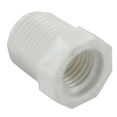"Schedule 40 PVC Hex Bushing 3/8"" x 1/4"" MPT"