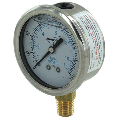 "Water Pressure Gauge 160 PSI, 1/4"" MPT, 2.5"" Plastic Dial, Lower Mount, SS Case"