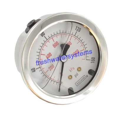 "NOSHOK Center Mount 2.5"" Water Pressure Gauge 0-160 PSI, SS, 1/4"" NPT"