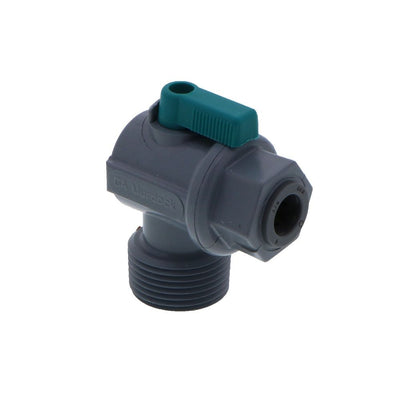 Shut-Off Valve-PVC Elbow Male NPT - 3/8 Push-in x 3/4 Male NPT