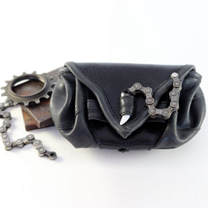 Bike Tube and Leather Belt Pouch - Black