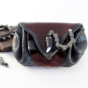 Bike Tube and Leather Belt Pouch - Brown