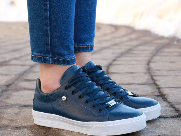 Blue Leather-Sneakers