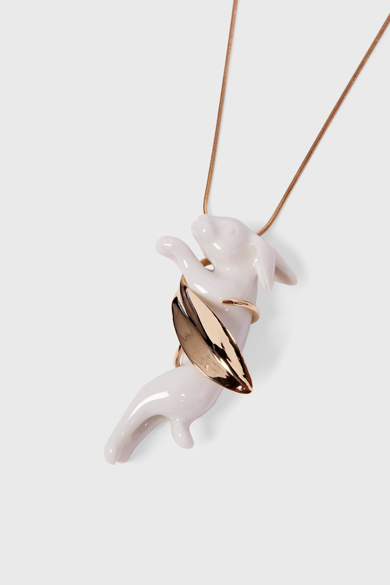 Rabbit and Leaf Necklace Jewellery Andres Gallardo - der ZEITGEIST