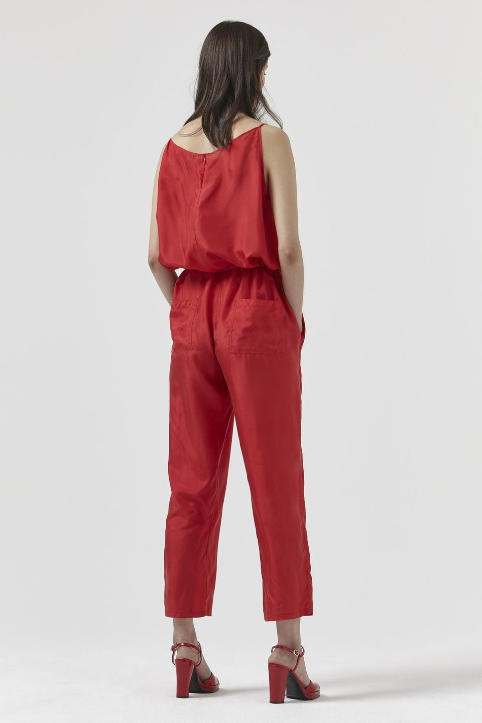 BERNADETTE Red Silk Jumpsuit Jumpsuit Katharine Hamnett London - der ZEITGEIST