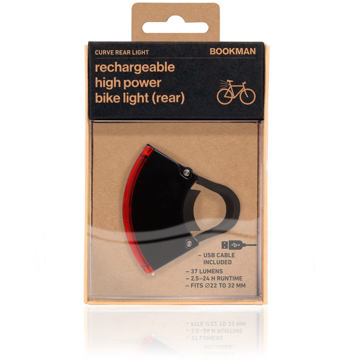Curve Bike Light Rear: Black/Black Bicycle Light Bookman - der ZEITGEIST