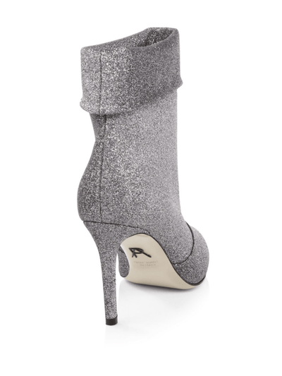Banner: Soft Glitter Fabric Stiletto Boots in Pewter Shoes Paul Andrew - der ZEITGEIST