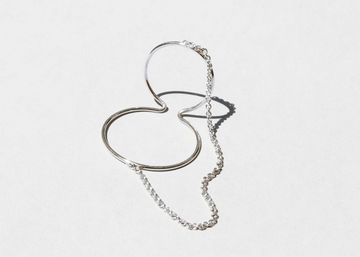 Ear Cuff with Chain (Sterling Silver)
